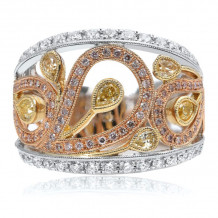 Roman & Jules Three Tone 18k Gold Diamond Ring - 1080-1