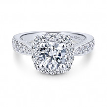 Gabriel & Co 14k White Gold Jessamine Diamond Engagement Ring