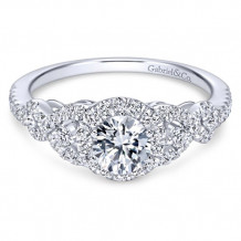 Gabriel & Co. 14k White Gold Round Halo Engagement Ring