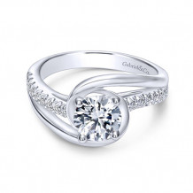 Gabriel & Co 14k White Gold Lucca Diamond Engagement Ring