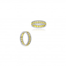 Roman & Jules 18k Two Tone Gold Yellow and White Diamond Band - KR2379WY-FY-18K