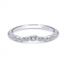 Gabriel & Co Vintage Platinum Curved Diamond Wedding Band