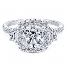 Gabriel & Co. 14k White Gold Cushion Cut 3 Stones halo Engagement Ring