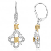 Roman & Jules 18k Two Tone Gold 1.31ctw Yellow and White Diamond Earrings - 1121-1