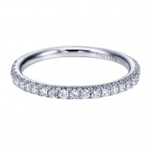 Gabriel & Co 18k White Gold Round Straight Diamond Wedding Band