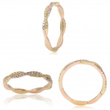 Roman & Jules 14k Two Tone Gold Pink and Yellow Diamond Twist Band - KR2381YR