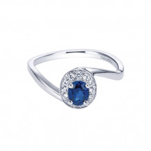 Gabriel & Co. 14k White Gold Oval Blue Sapphire Halo Engagement Ring