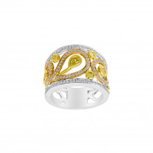 Roman & Jules 18k Tri Tone Gold Yellow and White Diamond Band - KR1305WPY-18K