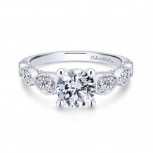Gabriel & Co. 14k White Gold Straight Diamond Engagement Ring