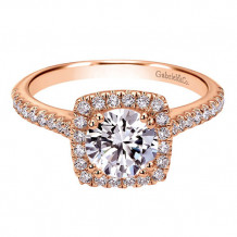 Gabriel & Co. 14k Rose Gold Round Halo Engagement Ring