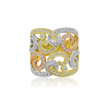 Roman & Jules Three Tone 14k Gold Diamond Ring - KR1810YWP