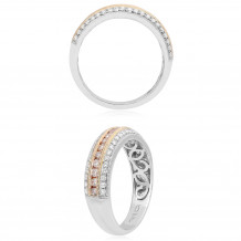 Roman & Jules 18k Two Tone Gold Pink and White Diamond Band - UR1322WR-BA-18K